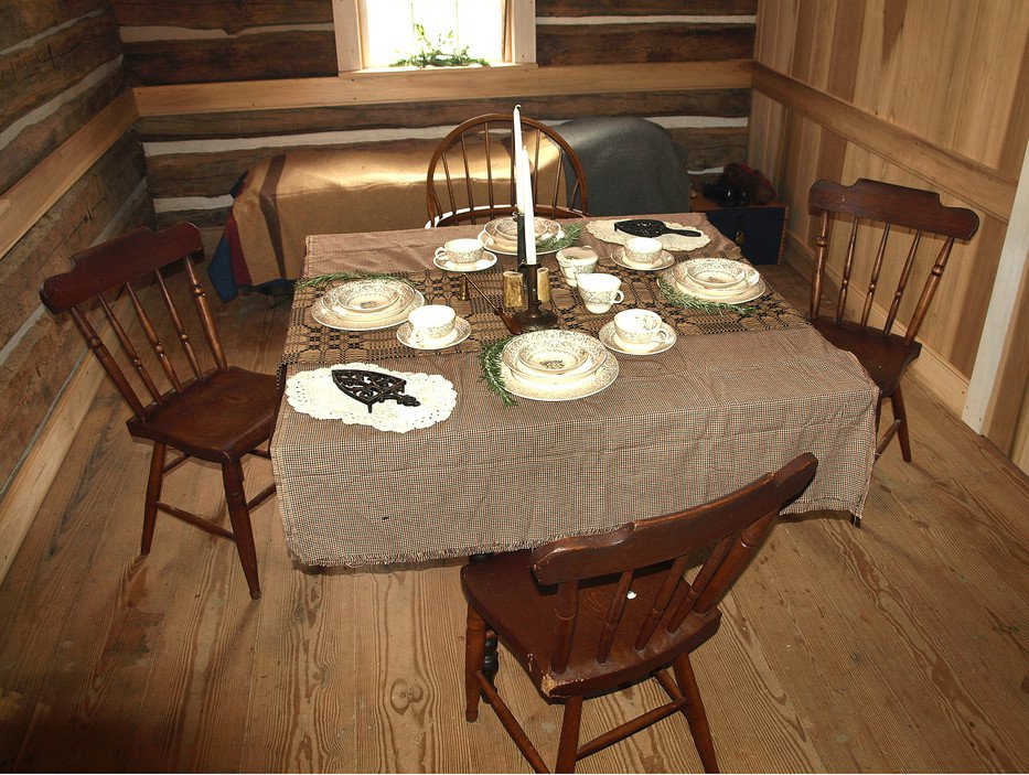 Negley Cabin, table setting.